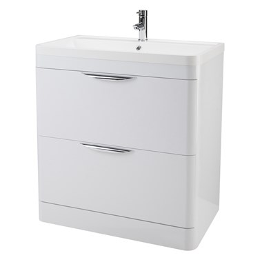 Harbour Grace 800mm Floor Standing Vanity Unit with Polymarble Basin - White Gloss
